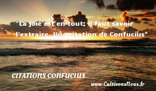 La joie est en tout; il faut savoir l extraire.  Une  citation  de Confucius CITATIONS CONFUCIUS