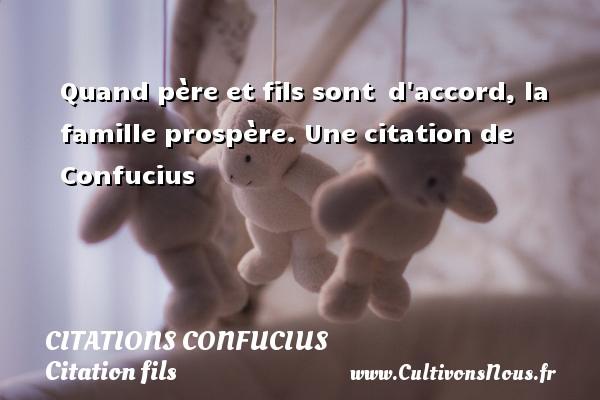 Quand père et fils sont d accord, la famille prospère.  Une  citation  de Confucius CITATIONS CONFUCIUS - Citation fils