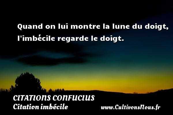 Quand on lui montre la lune du doigt, l imbécile regarde le doigt.   Une citation de Confucius CITATIONS CONFUCIUS - Citation imbécile