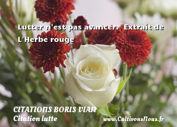 Lutter n est pas avancer.   Extrait de L Herbe rouge   Une citation de Boris Vian CITATIONS BORIS VIAN - Citation lutte