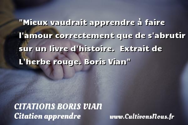 Mieux Vaudrait Apprendre à Citations Citations Boris Vian