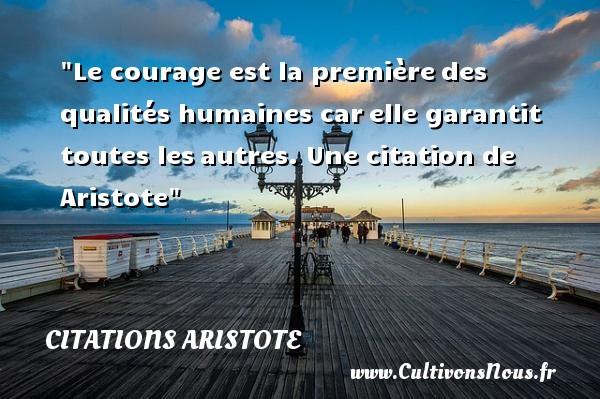 Citations - Citations Aristote - Citation courage - Le courage est la premièredes qualités humaines carelle garantit toutes lesautres.   Aristote   Une citation sur le courage CITATIONS ARISTOTE