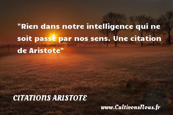 Rien dans notre intelligence qui ne soit passé par nos sens.  Une  citation  de Aristote CITATIONS ARISTOTE