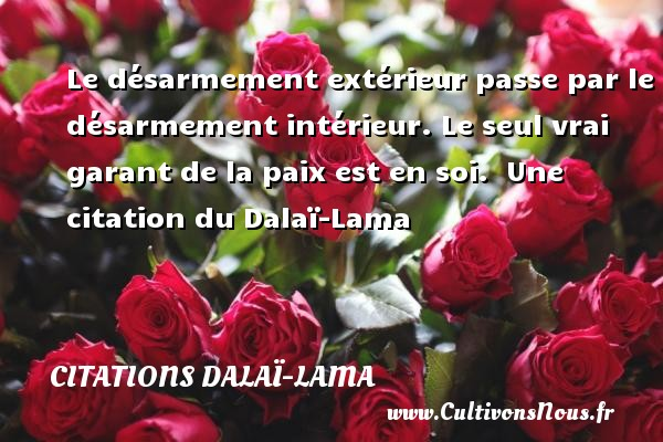 Le désarmement extérieur passe par le désarmement intérieur. Le seul vrai garant de la paix est en soi.   Une  citation  du Dalaï-Lama CITATIONS DALAÏ-LAMA - Citations Dalaï-Lama