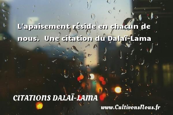 L apaisement réside en chacun de nous.   Une  citation  du Dalaï-Lama CITATIONS DALAÏ-LAMA - Citations Dalaï-Lama