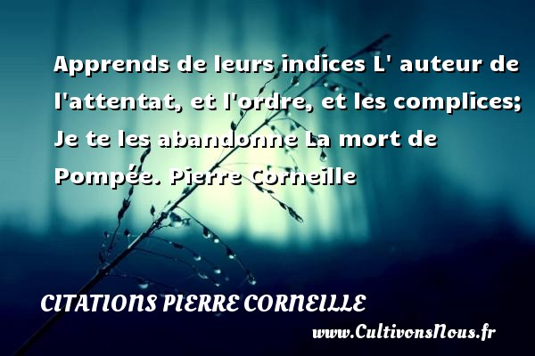 Citations - Citations Pierre Corneille - Apprends de leurs indices L  auteur de l attentat, et l ordre, et les complices; Je te les abandonne  La mort de Pompée. Pierre Corneille CITATIONS PIERRE CORNEILLE