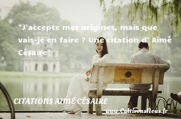 Citations - Citations Aimé Césaire - J accepte mes origines, mais que vais-je en faire ?  Une  citation  d  Aimé Césaire CITATIONS AIMÉ CÉSAIRE
