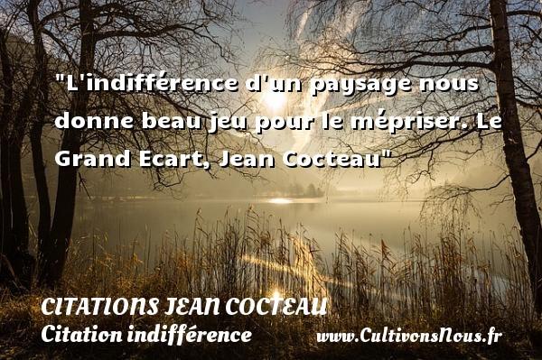 Citations Jean Cocteau - Citation indifférence - L indifférence d un paysage nous donne beau jeu pour le mépriser.  Le Grand Ecart, Jean Cocteau   Une citation sur l indifférence CITATIONS JEAN COCTEAU