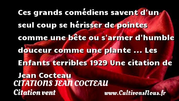 Citations Jean Cocteau - Citation vent - Ces grands comédiens savent d un seul coup se hérisser de pointes comme une bête ou s armer d humble douceur comme une plante ...  Les Enfants terribles 1929  Une  citation  de Jean Cocteau CITATIONS JEAN COCTEAU