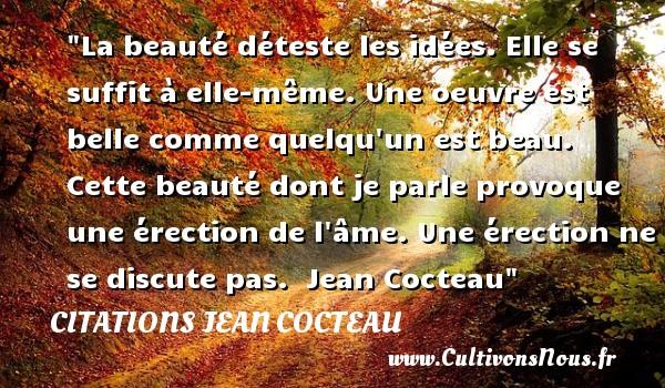 Citations Jean Cocteau - Citation idée - La beauté déteste les idées. Elle se suffit à elle-même. Une oeuvre est belle comme quelqu un est beau. Cette beauté dont je parle provoque une érection de l âme. Une érection ne se discute pas.   Jean Cocteau   Une citation sur l idée CITATIONS JEAN COCTEAU