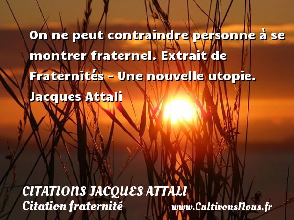 On ne peut contraindre personne à se montrer fraternel.  Extrait de Fraternités - Une nouvelle utopie. Jacques Attali CITATIONS JACQUES ATTALI - Citation fraternité