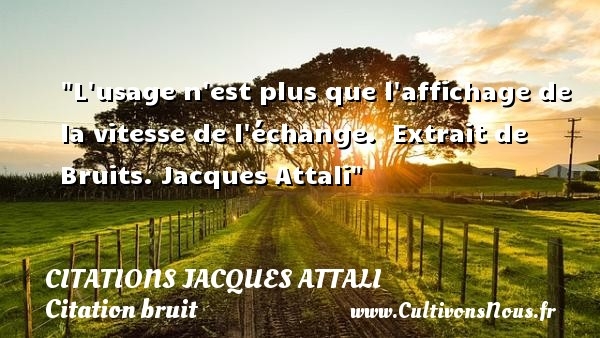 L usage n est plus que l affichage de la vitesse de l échange.   Extrait de Bruits.  Jacques Attali   Une citation sur le bruit CITATIONS JACQUES ATTALI - Citation bruit