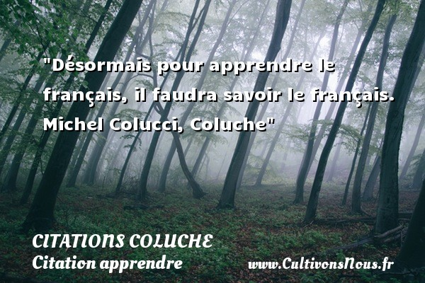 Désormais pour apprendre le français, il faudra savoir le français.   Michel Colucci, Coluche   Une citation sur apprendre CITATIONS COLUCHE - Citations Coluche - Citation apprendre