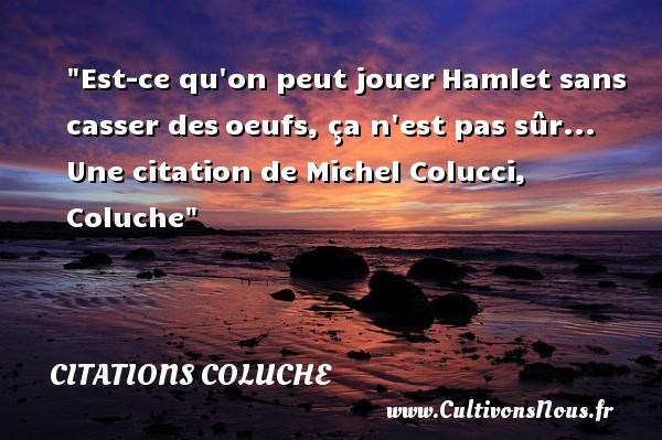 Citations Coluche - Citation jouer - Est-ce qu on peut jouerHamlet sans casser desoeufs, ça n est pas sûr...  Une  citation  de Michel Colucci, Coluche CITATIONS COLUCHE