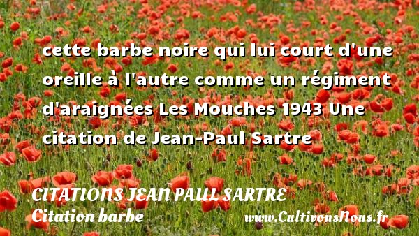 cette barbe noire qui lui court d une oreille à l autre comme un régiment d araignées  Les Mouches 1943  Une  citation  de Jean-Paul Sartre CITATIONS JEAN PAUL SARTRE - Citation barbe