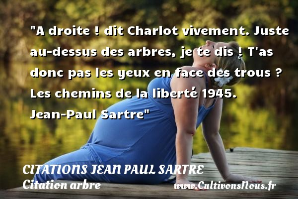 A droite ! dit Charlot vivement. Juste au-dessus des arbres, je te dis ! T as donc pas les yeux en face des trous ?  Les chemins de la liberté 1945. Jean-Paul Sartre   Une citation sur arbre CITATIONS JEAN PAUL SARTRE - Citation arbre