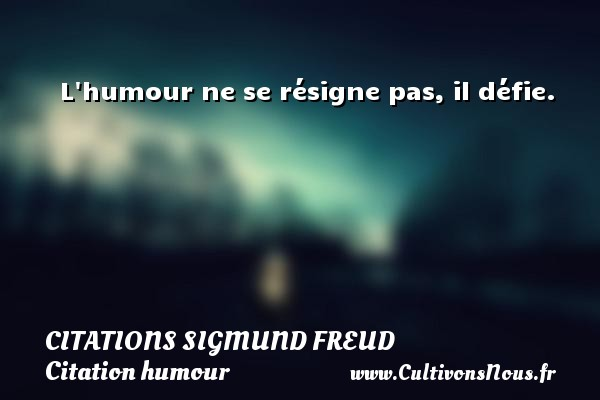Citations Sigmund Freud - Citation humour - L humour ne se résigne pas, il défie.   Une citation de Sigmund Freud CITATIONS SIGMUND FREUD