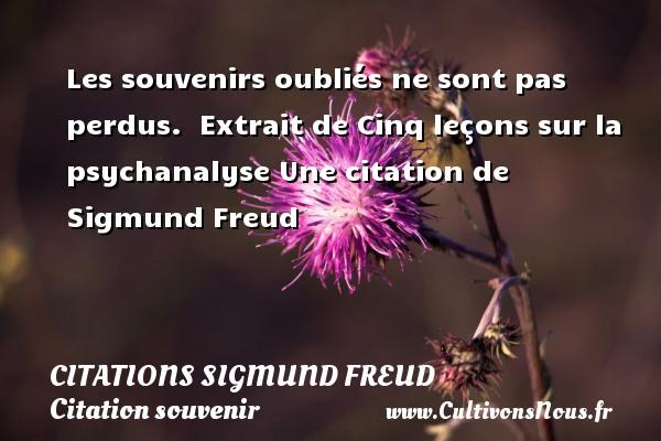 Citations Sigmund Freud - Citation souvenir - Les souvenirs oubliés ne sont pas perdus.   Extrait de Cinq leçons sur la psychanalyse  Une  citation  de Sigmund Freud CITATIONS SIGMUND FREUD