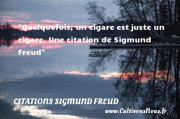 Quelquefois, un cigare est juste un cigare.  Une  citation  de Sigmund Freud CITATIONS SIGMUND FREUD