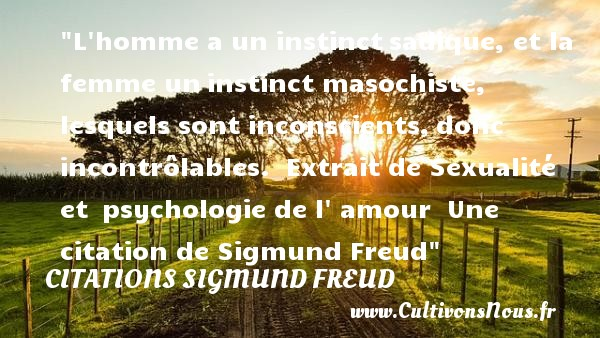 L homme a un instinct sadique, et la femme un instinct masochiste, lesquels sont inconscients, donc incontrôlables.   Extrait de Sexualité et psychologie de l amour, Sigmund Freud   Une citation sur l instinct CITATIONS SIGMUND FREUD - Citation instinct