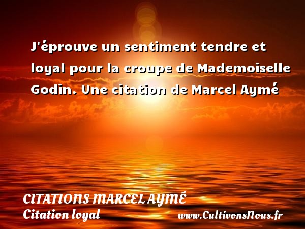 J éprouve un sentiment tendre et loyal pour la croupe de Mademoiselle  Godin.  Une  citation  de Marcel Aymé CITATIONS MARCEL AYMÉ - Citations Marcel Aymé - Citation loyal - Citation sentiment