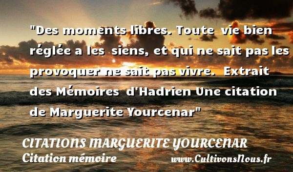 Des moments libres. Toute  vie bien réglée a les  siens, et qui ne sait pas les provoquer ne sait pas vivre.   Extrait des Mémoires  d Hadrien  Une  citation  de Marguerite Yourcenar CITATIONS MARGUERITE YOURCENAR - Citation mémoire