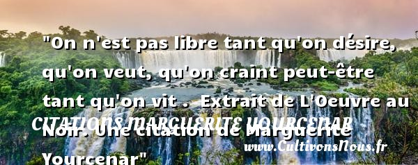Citations Marguerite Yourcenar - Citation libre - On n est pas libre tant qu on désire, qu on veut, qu on craint peut-être tant qu on vit .   Extrait de L Oeuvre au Noir. Une  citation  de Marguerite Yourcenar CITATIONS MARGUERITE YOURCENAR
