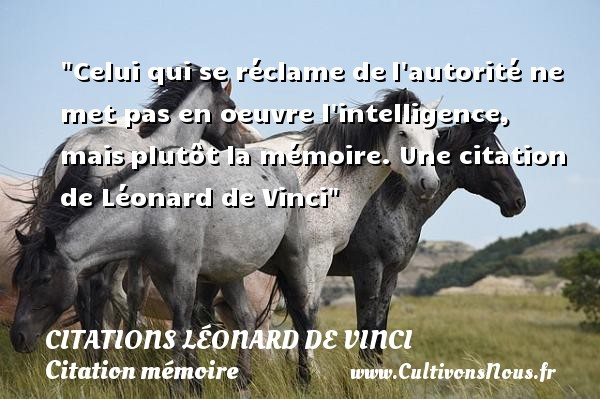 Celui qui se réclame de l autorité ne met pas en  oeuvre l intelligence, mais plutôt la mémoire.  Une  citation  de Léonard de Vinci CITATIONS LÉONARD DE VINCI - Citations Léonard de Vinci - Citation mémoire