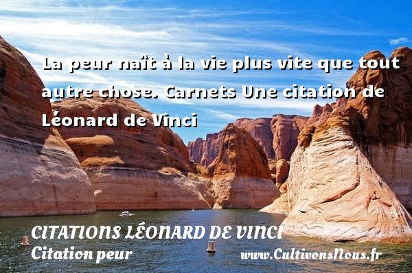 Citations Léonard de Vinci - Citation peur - La peur naît à la vie plus vite que tout autre chose. Carnets  Une  citation  de Léonard de Vinci CITATIONS LÉONARD DE VINCI