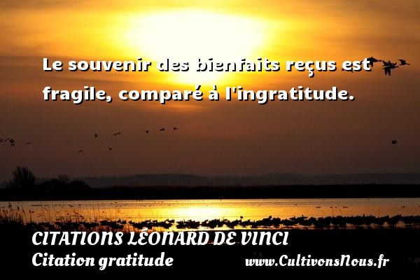 Citations Léonard de Vinci - Citation gratitude - Le souvenir des bienfaits reçus est fragile, comparé à l ingratitude.   Une citation de Léonard de Vinci CITATIONS LÉONARD DE VINCI