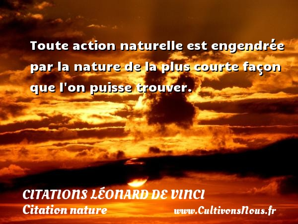 Toute action naturelle est engendrée par la nature de la plus courte façon que l on puisse trouver.   Une citation de Léonard de Vinci CITATIONS LÉONARD DE VINCI - Citations Léonard de Vinci - Citation nature