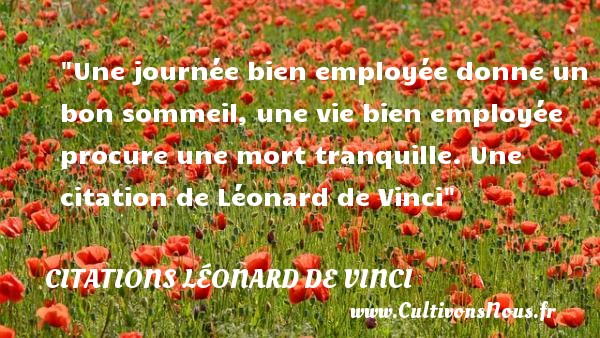 Citations Léonard de Vinci - Citation jour - Une journée bien employée donne un bon sommeil, une vie bien employée procure une mort tranquille.  Une  citation  de Léonard de Vinci CITATIONS LÉONARD DE VINCI