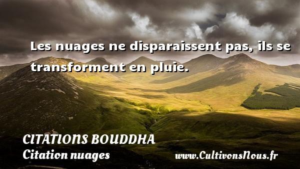 Les nuages ne disparaissent pas, ils se transforment en pluie.   Une citation de Bouddha CITATIONS BOUDDHA - Citation nuages