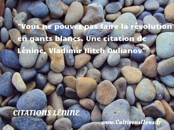 Citations - Citations Lénine - Vous ne pouvez pas faire la révolution en gants blancs.  Une  citation  de Lénine, Vladimir Ilitch Oulianov CITATIONS LÉNINE