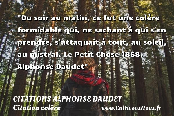 Citations - Citations Alphonse Daudet - Citation colère - Citation matin - Du soir au matin, ce fut une colère formidable qui, ne sachant à qui s en prendre, s attaquait à tout, au soleil, au mistral.  Le Petit Chose 1868. Alphonse Daudet   Une citation sur la colère CITATIONS ALPHONSE DAUDET