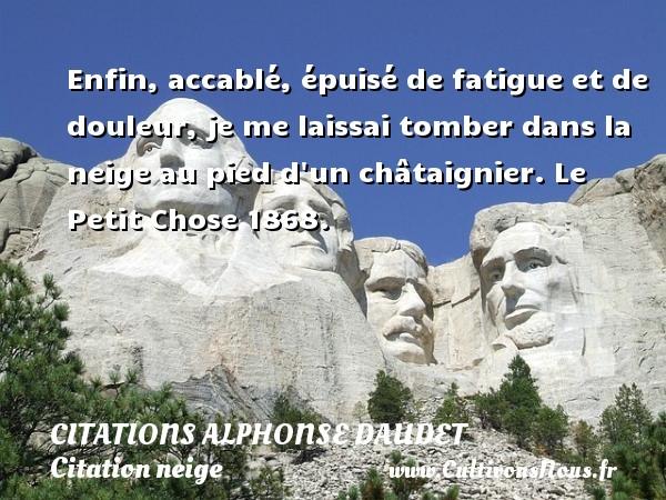 Citations - Citations Alphonse Daudet - Citation neige - Enfin, accablé, épuisé de fatigue et de douleur, je me laissai tomber dans la neige au pied d un châtaignier.  Le Petit Chose 1868.   Une citation de Alphonse Daudet CITATIONS ALPHONSE DAUDET