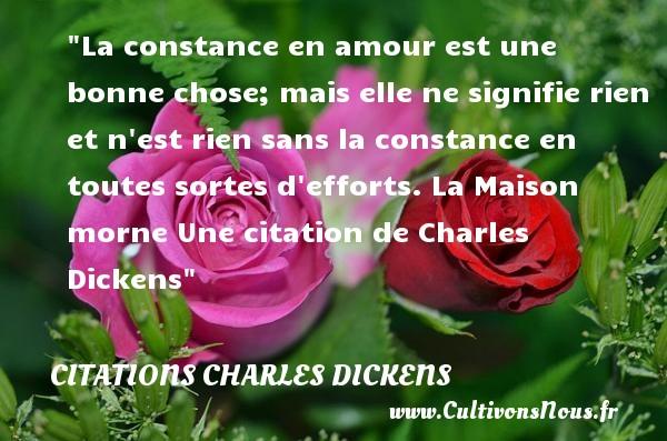 La constance en amour est une bonne chose; mais elle ne signifie rien et n est rien sans la constance en toutes sortes d efforts.  La Maison morne Une  citation  de Charles Dickens CITATIONS CHARLES DICKENS - Citations - Citations Charles Dickens