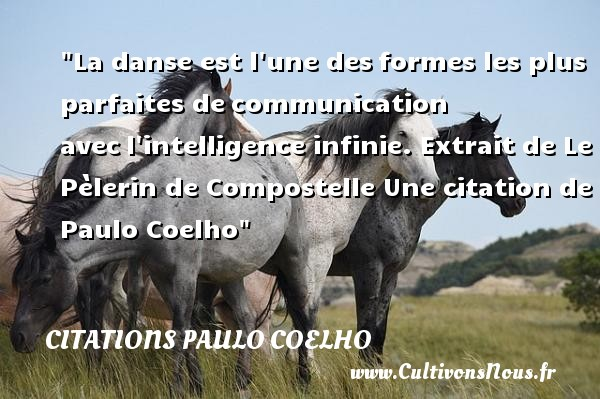 Citations Paulo Coelho - Citation communication - Citation danse - La danse est l une des formes les plus parfaites de communication avec l intelligence infinie.   Extrait de Le Pèlerin de Compostelle. Paulo Coelho   Une citation sur la danse CITATIONS PAULO COELHO