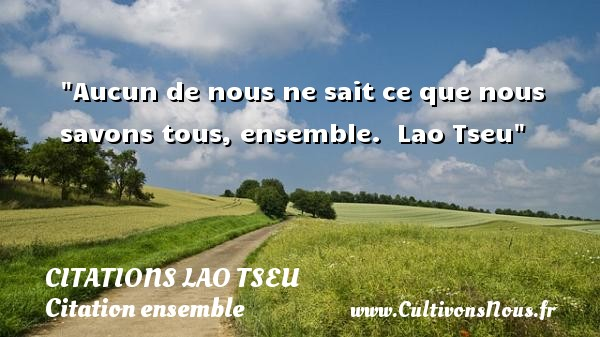 Citations Lao Tseu - Citation ensemble - Aucun de nous ne sait ce que nous savons tous, ensemble.   Lao Tseu   Une citation sur ensemble CITATIONS LAO TSEU