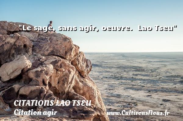 Le sage, sans agir, oeuvre.   Lao Tseu   Une citation agir CITATIONS LAO TSEU