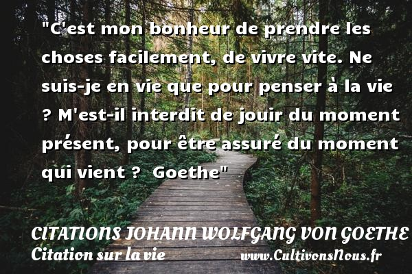 C est mon bonheur de prendre les choses facilement, de vivre vite. Ne suis-je en vie que pour penser à la vie ? M est-il interdit de jouir du moment présent, pour être assuré du moment qui vient ?   Goethe   Une citation sur la vie CITATIONS JOHANN WOLFGANG VON GOETHE - Citations Johann Wolfgang von Goethe - Citation sur la vie