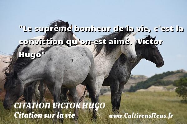 citation Victor Hugo - Citation sur la vie - Le suprême bonheur de la vie, c est la conviction qu on est aimé.   Victor Hugo   Une citation sur la vie CITATION VICTOR HUGO
