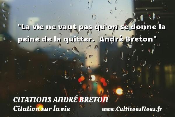La vie ne vaut pas qu on se donne la peine de la quitter.   André Breton   Une citation sur la vie CITATIONS ANDRÉ BRETON - Citations André Breton