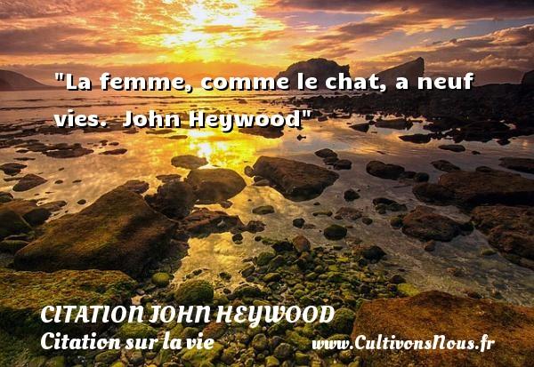 La femme, comme le chat, a neuf vies.   John Heywood   Une citation sur la vie CITATION JOHN HEYWOOD