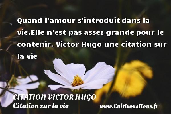 citation Victor Hugo - Citation sur la vie - Quand l amour s introduitdans la vie.Elle n est pas assez grandepour le contenir.  Victor Hugo  une citation sur la vie CITATION VICTOR HUGO