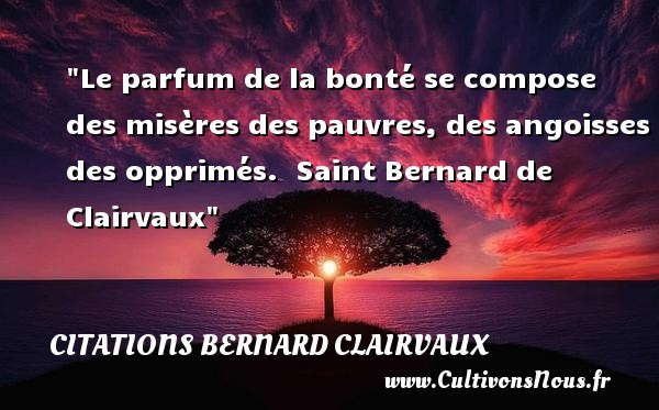 Le parfum de la bonté se compose des misères des pauvres, des angoisses des opprimés.   Saint Bernard de Clairvaux   Une citation sur la bonté CITATIONS BERNARD CLAIRVAUX - citation bonté
