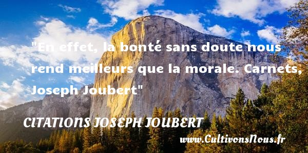 En effet, la bonté sans doute nous rend meilleurs que la morale.  Carnets, Joseph Joubert   Une citation sur la bonté CITATIONS JOSEPH JOUBERT - citation bonté