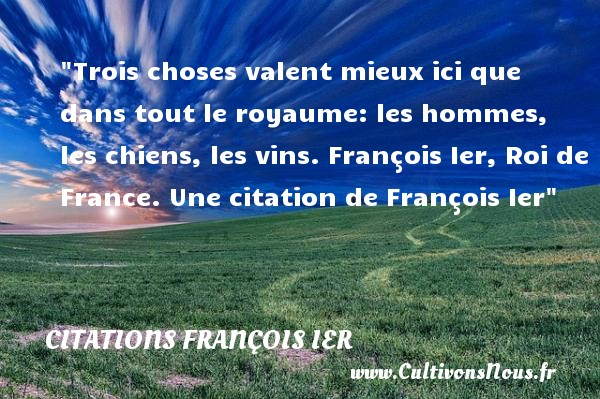 Trois choses valent mieux ici que dans tout le royaume: les hommes, les chiens, les vins.  François Ier, Roi de France. Une  citation  de François Ier CITATIONS FRANÇOIS IER - Citations François Ier - rois de France