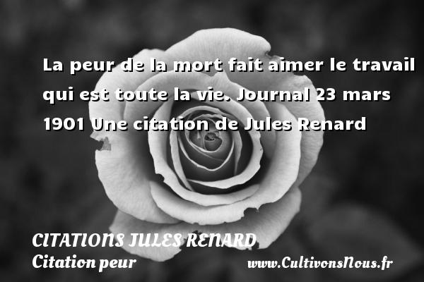 La peur de la mort fait aimer le travail qui est toute la vie.  Journal 23 mars 1901  Une  citation  de Jules Renard CITATIONS JULES RENARD - Citation peur - Citation travail