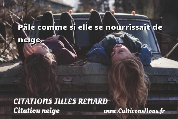 Citations Jules Renard - Citation neige - Pâle comme si elle se nourrissait de neige.   Une citation de Jules Renard CITATIONS JULES RENARD